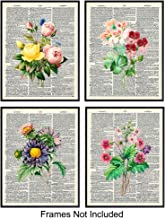 Flower Bouquets Unframed Dictionary Wall Art Prints - Steampunk - Great Home Decor, Flower Lovers - Easy Gift Giving - Perfect Present for Florists & Flower Shops - Ready to Frame (8X10) Vintage Photo