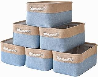 pulnimus Fabric Storage Baskets Set [6 Pack],Cloth Baskets,Nursery Baskets,Small Storage Bins for Baby,Empty Gift Baskets with Rope Handles,Rectangular Basket,Decorative Closet Baskets (Gold&Blue)