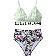 Seaselfie Women's Gingham Top Lily Floral Print Bottom Tassel High Waisted Bikini Set