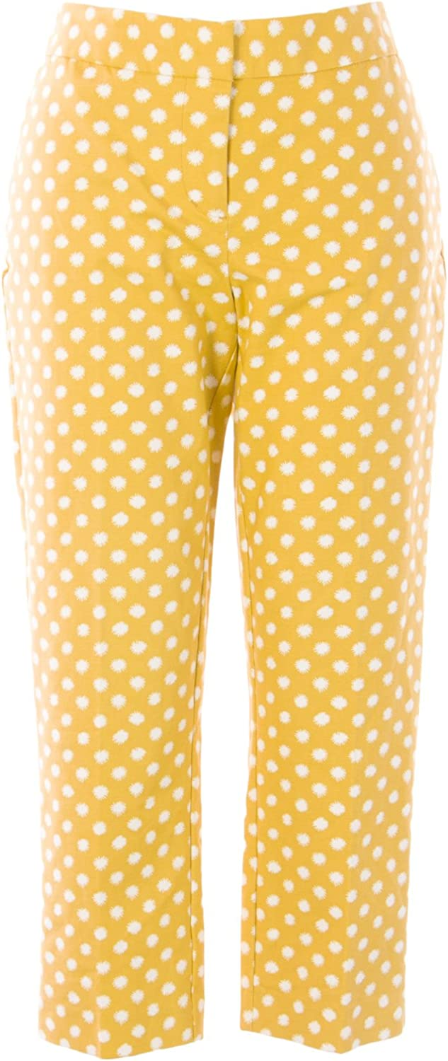 BODEN Women's Printed Bistro Crop Trousers US Sz 10P gold White