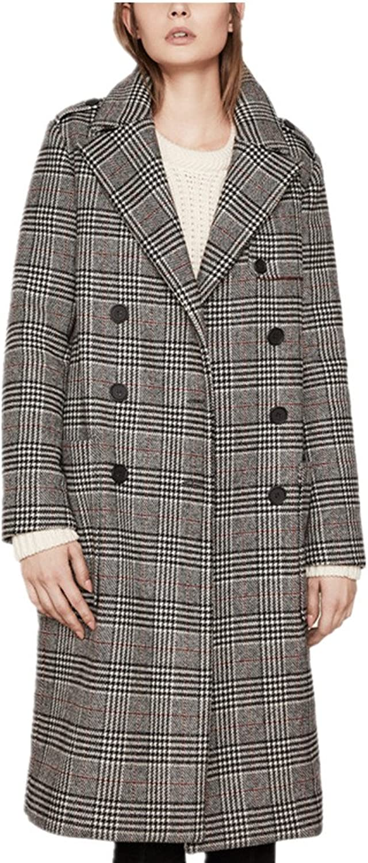 Bobbycool Female Long Plaid Coat HighEnd Big Slim Slim Windbreaker