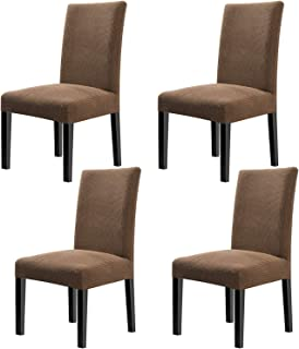 Fuloon Super Fit Stretch Jacquard Removable Washable Short Dining Chair Covers Seat Slipcover for Hotel,Dining Room,Ceremony,Banquet Wedding Party (4, LC)