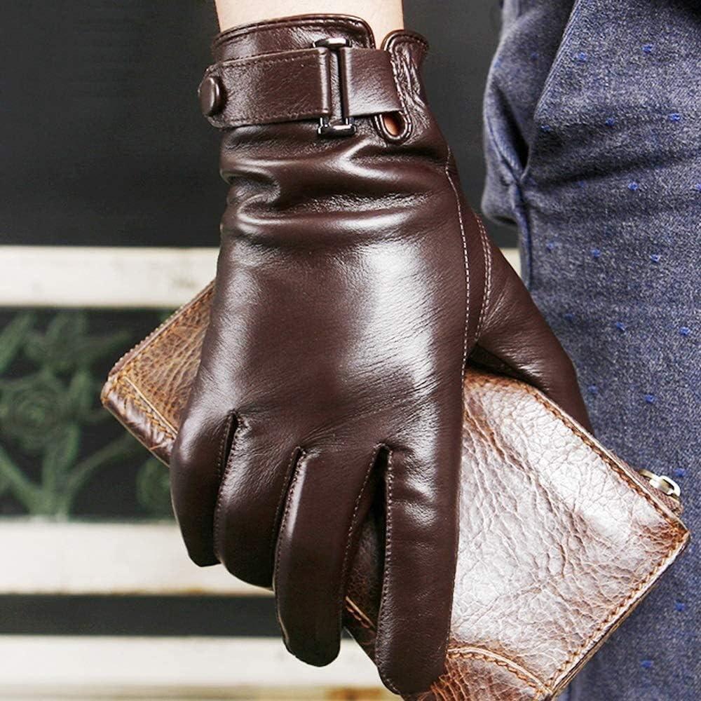 KEKEYANG Men's Leather Gloves Driving Gloves Black Touch Screen Gloves for Men Fashion Brand Winter Warm Mittens Full Finger Winter Leather Gloves Touchscreen Texting Warm Lined Gifts Gloves Mittens
