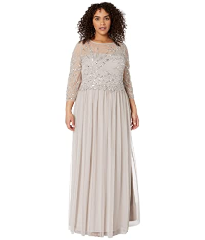 Adrianna Papell Plus Size Long Sleeve Beaded Gown (Marble) Women