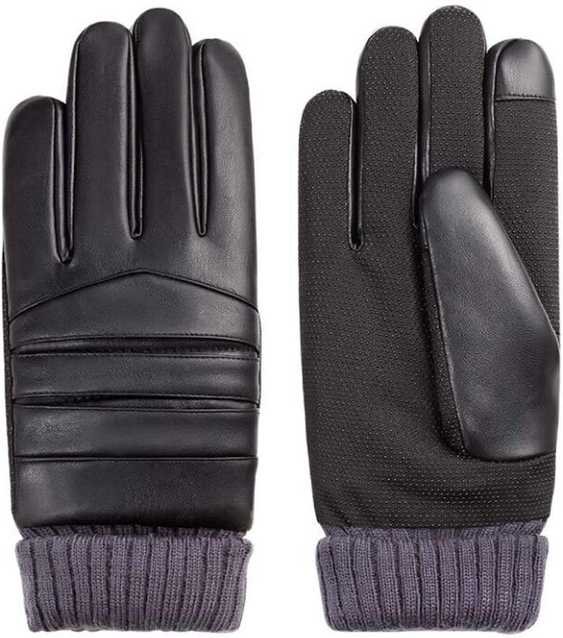 DRAGON SONIC Men's Texting Touchscreen Warm Mittens Plush-Lined Gloves Leather Driving Gloves