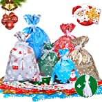 30pcs Assorted Christmas Wrapping Gift Bags with Ribbon Tie Foil Wrapping Bags Goodie Bags Xmas Sacks Pouches Party Favor