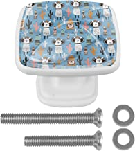 Vierkante Witte Lade Trekt Handvat voor Kast Dressing Tafel Cartoon Llama 30mm 4 Stks Kabinet Deurknoppen met Schroeven