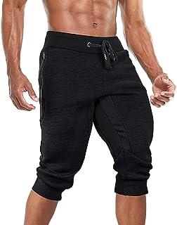 BIYLACLESEN Men's 3/4 Joggers Below Knee Pants Running Pants Gym Capri Pants with Zipper Pockets