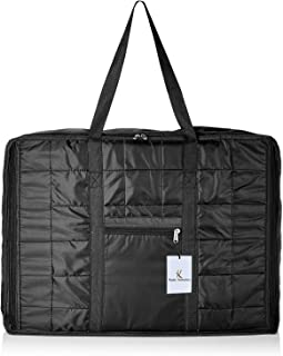 Kuber Industries Parachute Big Underbed Moisture Proof Storage Bag with ZippeBlack Closure and Handle, Black