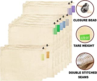 purifyou Premium Reusable Mesh / Produce Bags, Set of 9 | Superior Double-Stitched Strength, with Tare Weight on Tags | Lightweight, See-Through, Large, Medium & Small (Raw Organic Cotton, Set of 9 Mixed)