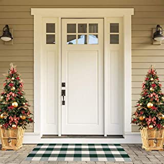 Sungea Christmas Decorative Area Rug, 2x4 ft, Green and White Buffalo Checkered Plaid Doormat Farmhouse Outdoor Throw Rugs for Front Porch/Kitchen/Sink/Bathroom/Bedroom/Entry Way