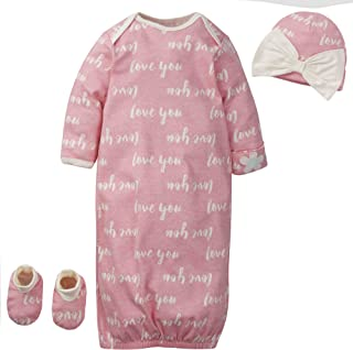 Baby Girls' Organic 3-Piece Gift Set Gown with Cap and...