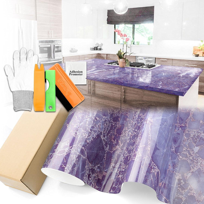Gloss Light Purple 4 years warranty Las Vegas Mall Marble Granite Wallpap Vinyl Paper Countertop