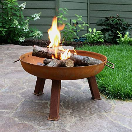 "24"" Fire Pit Cast Iron with Rustic Finish Wood-Burning Fire Bowl-Fire Pit-Wood Stove-Wood Burning Stove-Outdoor fire Pit-Fire pits-Fireplace-Wood Burning-Fire Wood-Outdoor Stove-Patio fire Pit"