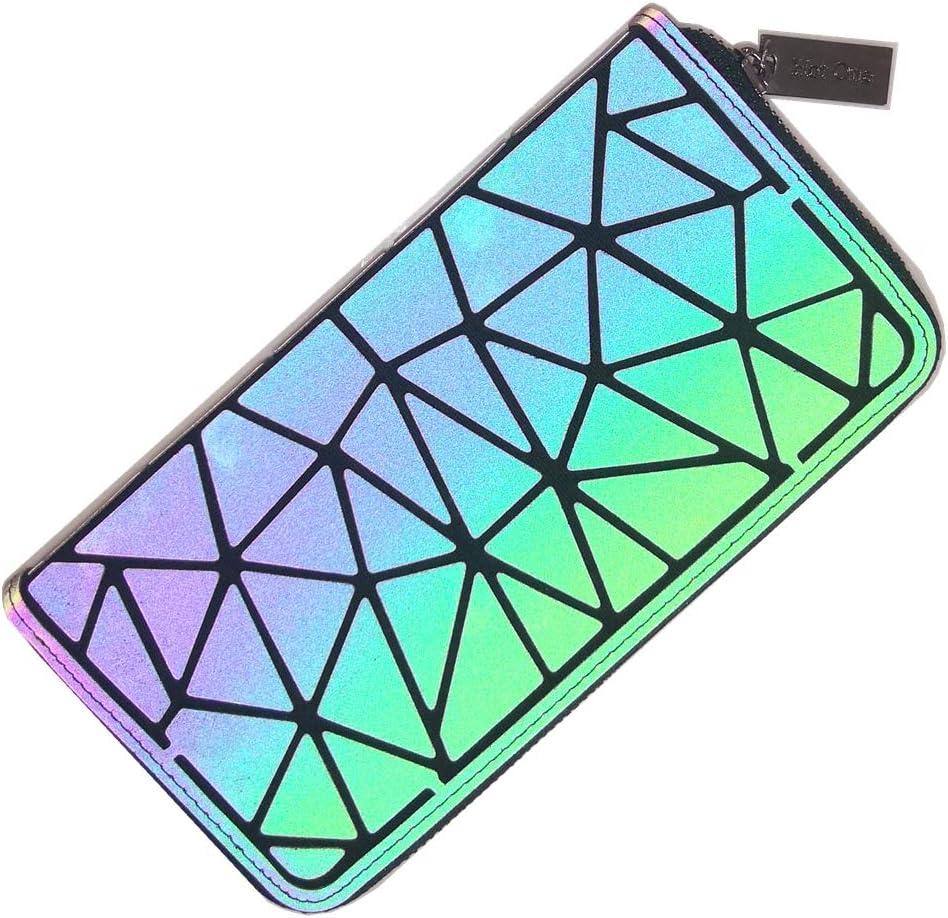 Hot One Sacs à main et sacs à main géométriques lumineux Sac à bandoulière holographique réfléchissant(Sac à Main Lumineux M+Sac à Chaîne+Portefeuille Zippé) N°1+portefeuille Zippé