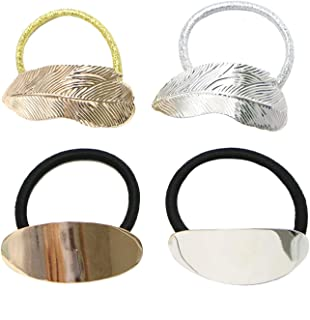 Monrocco 4 Pack Metal Leaf Hair Band Rope Elastic Hair Ties Hair Cuff Wrap Ponytail Holder