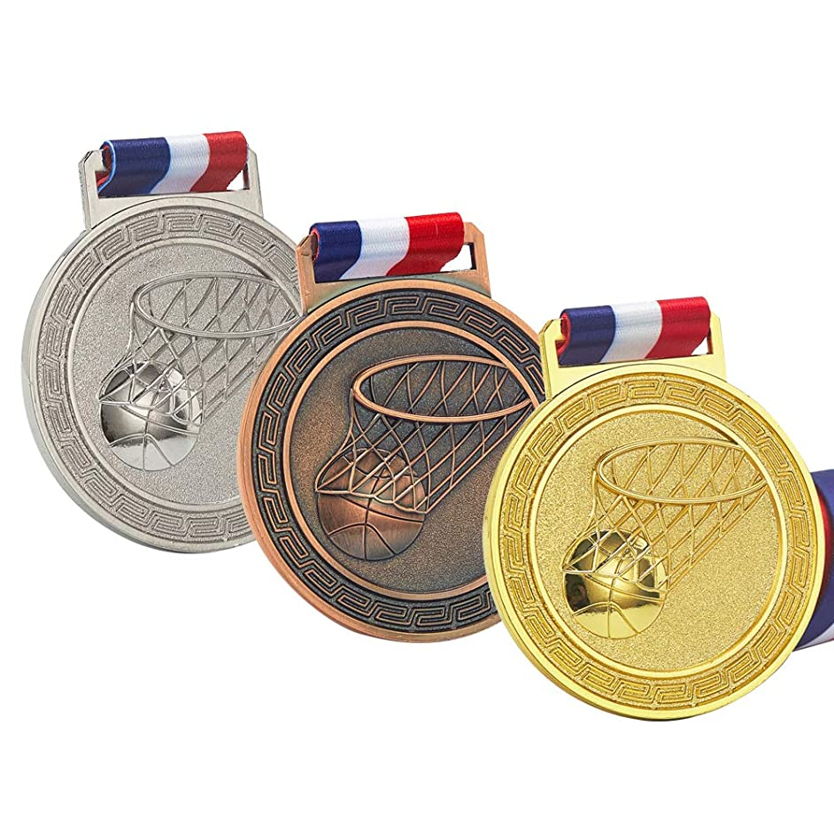 Basketball Medals for Kids, Gold Silver Bronze Medals for Basketball, Well-Crafted Basketball  Award Medals, Sport Medal Award Set with Neck Ribbon, Antique Finish Shiny Design