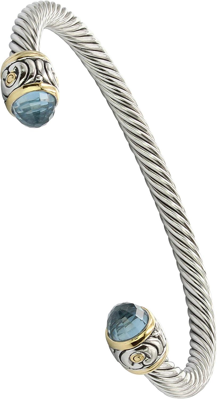 John Medeiros Beautiful Nouveau Collection Cuff Bracelet Aqua Cubic Zirconia