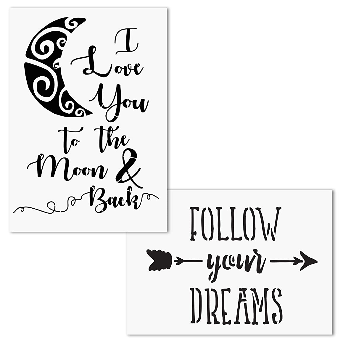 AZDIY Reusable Stencil Set- I Love You to The Moon and Back, Follow Your Dreams Stencils - Word Stencils for Painting on Wood– Quote Painting Stencil - for Home Décor & DIY Projects