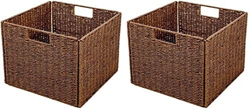 Trademark Innovations Foldable Storage Basket with Iron Wire Frame (Set of 2)
