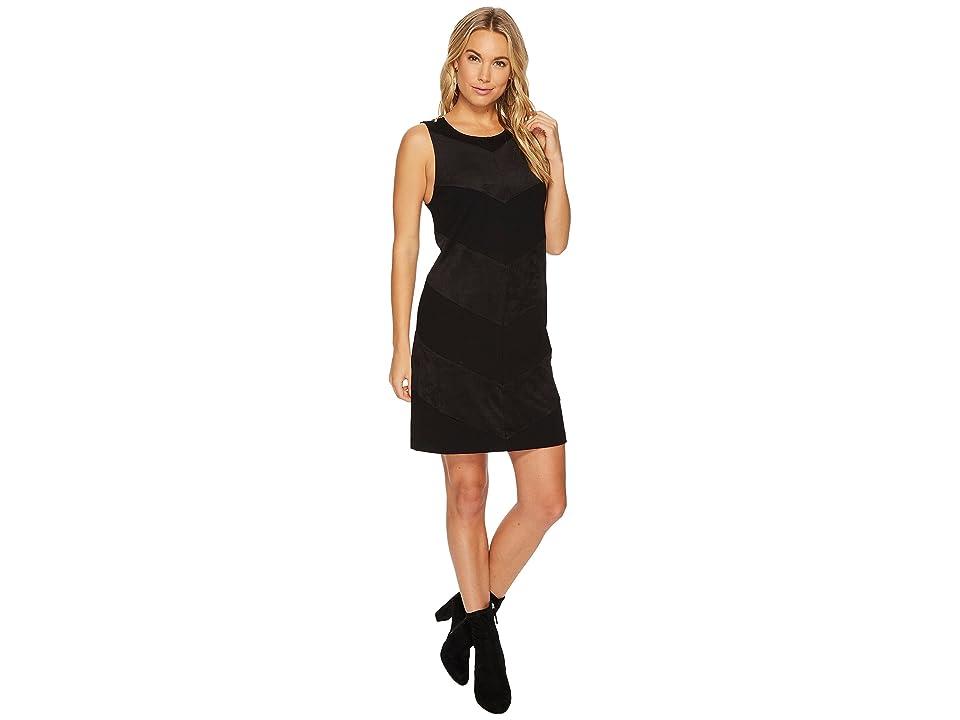 kensie Ponte Dress with Faux Suede Detail KSNK9886 (Black) Women