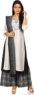 BIBA Women's White Cotton Salwar Kameez Dupatta
