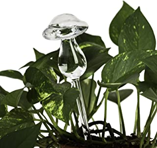 Lexi Home Indoor/Outdoor Water Globes for Plants - Decorative Aqua Globes - Self Watering Globes - Glass Watering Bulbs (2 Pack - Mushroom)