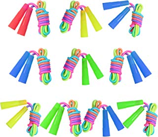 Elcoho 10 Pack Rainbow Jump Rope Set Kids Jumping Ropes Vibrant Skipping Ropes for Outdoor Fun, Party Favors, 7.2 Feet (10)