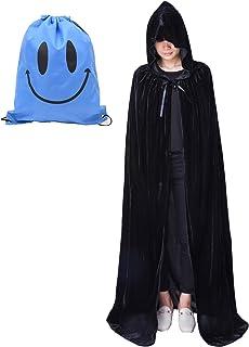 Myir Largo Capa con Capucha, Unisex Adulto Niños Disfraz de Halloween Fiesta Disfraces Vampiro Traje (L, Negro Terciopelo)