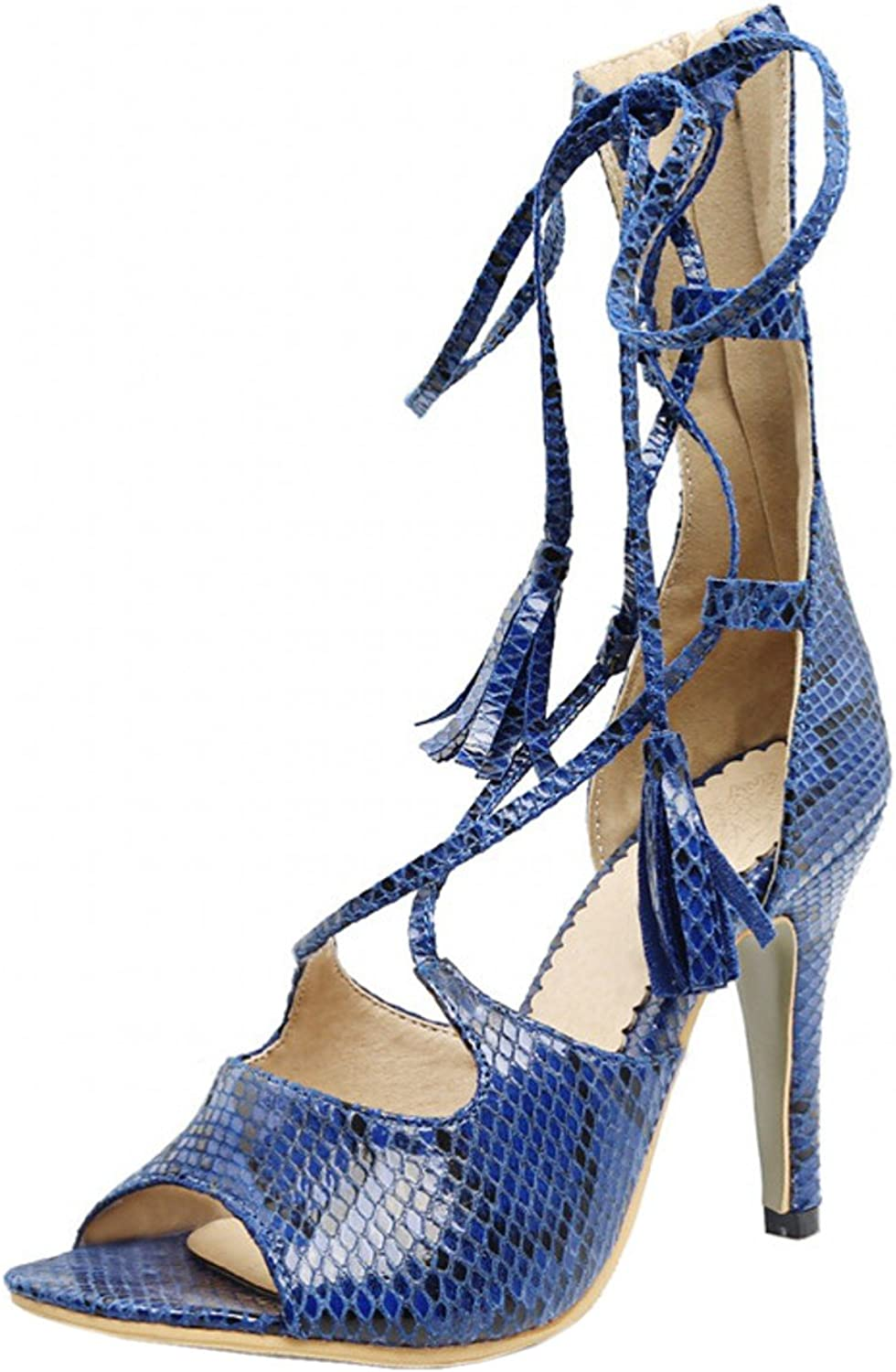 Rongzhi Womens Gladiator Heeled Sandals Pumps Stilettos Strappy High Heel shoes Open Toe Snakeskin Print