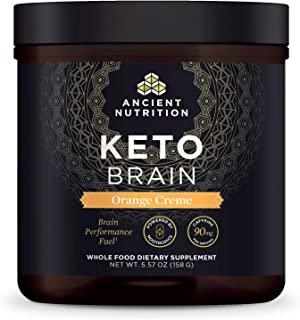 Ancient Nutrition KetoBRAIN Powder - Orange Cream, Specially Selected Botanicals to Boost Mental Focus, 20 Servings