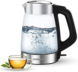 Cusimax Electric Kettle 1.7L BPA-free Glass Hot Water Kettle with 100 % Stainless Steel Lid & Bottom, Cordless Water Boiler Heater for Tea coffee, Auto Shut-Off & Boil-Dry Protection & LED Indicator Light