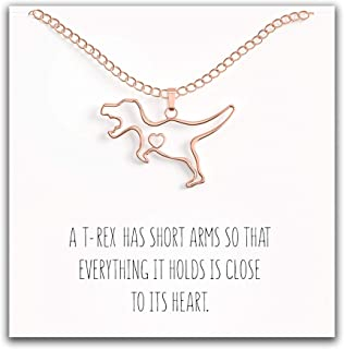 Happy Kisses Dinosaur T-Rex Necklace - Cute Pendant Gift - Sweet and Funny Message Card (Rose Gold)
