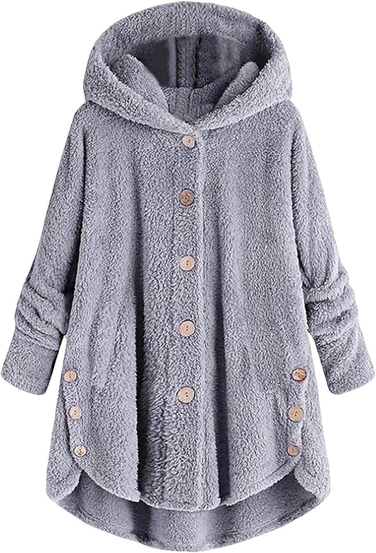 FABIURT Womens Girls Fashion Winter Fleece Hoodies Pockets Tunic Sweatshirt Casual Long Sleeve Hoodie Outerwear Jacket