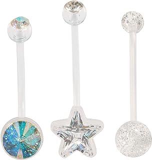 uv glitter gem ball navel belly bar ring 14ga assorted lengths 6mm to 19mm