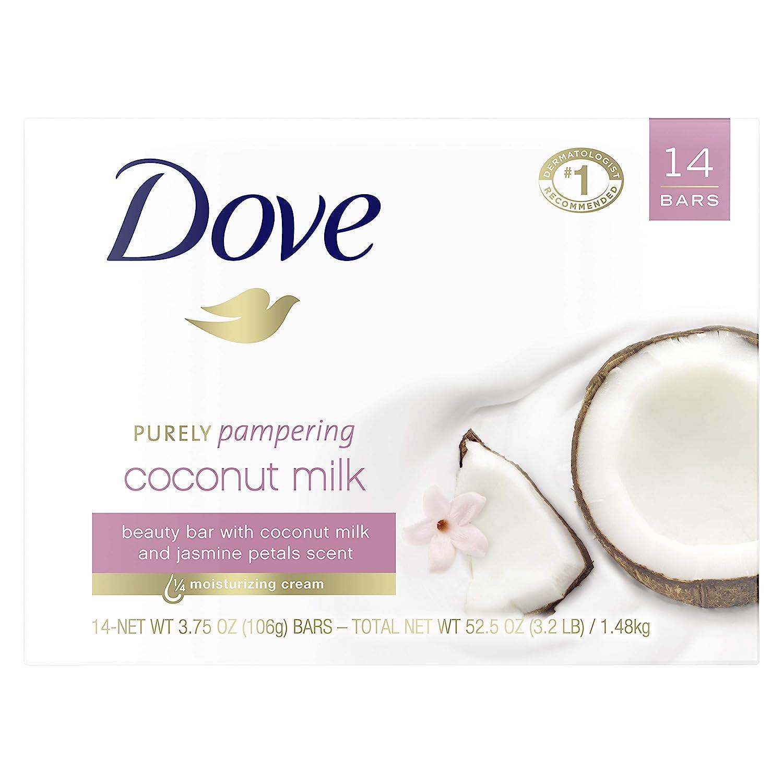 Dove Beauty Bar More Moisturizing Than Traditional Bar Soaps Coconut Milk Made With 1/4 Moisturizing Cream 3.75 oz 14 Bars: Beauty