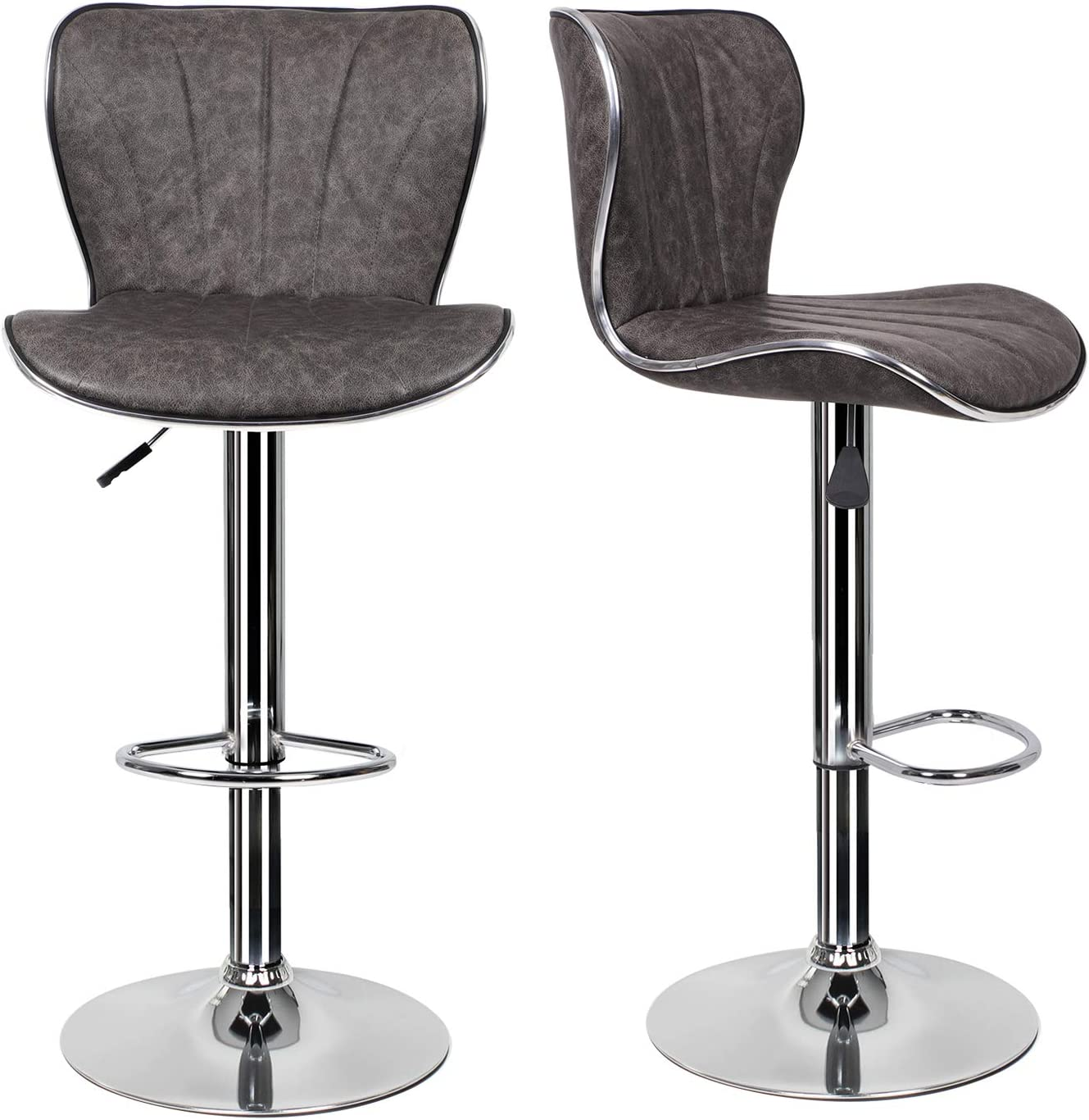 EUCO 9 pcs Grey Bar Stool,Kitchen Bar Stool Swivel Gas Lift Breakfast Bar  Stool with Padded Backrest&Chrome Footrest High Dining Stools Bar ...