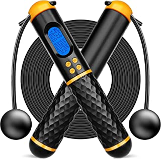 """Tobeape® Skipping Rope Tangle-Free with Ball Bearings Rapid Speed Jump Rope Cable and 6"""" Memory Foam Handles Ideal for Aer..."""