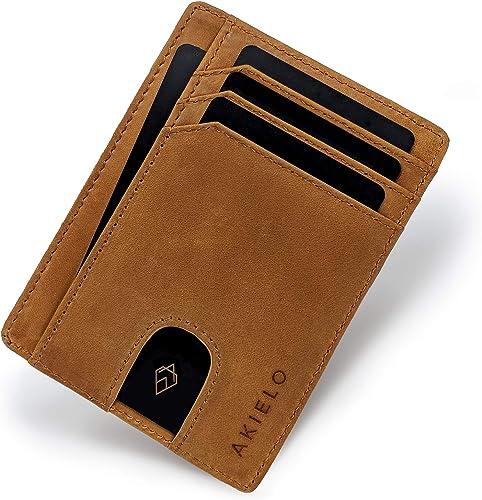 AKIELO Portefeuille Homme RFID Blocage avec Coffret Cadeau – Porte Cartes Ultra Fin – Portefeuille Minimaliste (Colle...