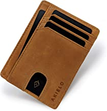 AKIELO Wallet - RFID Blocking Credit Card Holder and Gift Box - Ultra Slim Wallet for Men - Minimalist Card Wallet (Bravo Collection)