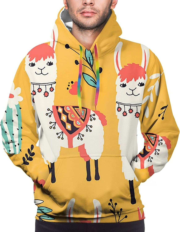 Hoodie For Men Women Unisex White Lovely Llama Hoodies Outdoor Sports Sweater