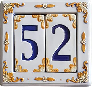 Numero civico per esterno. Numeri civici per esterni in ceramica dipinta a mano 100% made in italy