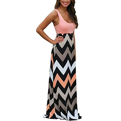 7f27212f648 Womens Zig Zag Scoop Neck Wave Striped Tank Maxi Long Dress