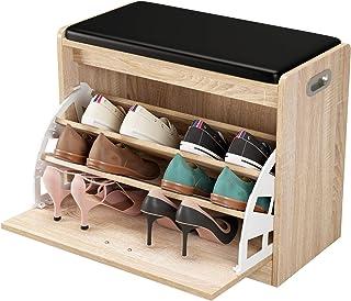 comprar comparacion Homfa Zapatero con Asiento Banco Zapatero Roble Organizador para Zapatos con 3 estantes