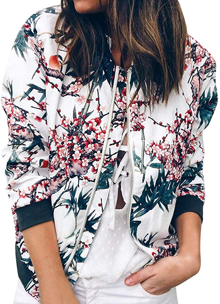 Outwear Womens Retro Floral Zipper Up Bomber Jacket Casual Coat