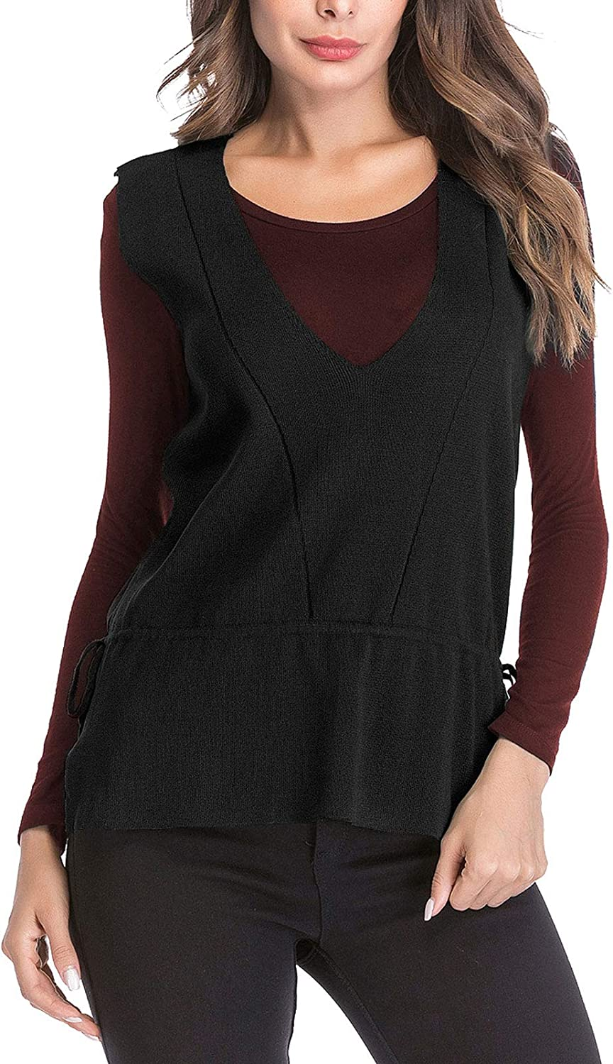 Flygo Women's Brand Cheap Sale Venue Casual V Neck Sleeveless Tops San Antonio Mall Knitted Vest Sweater