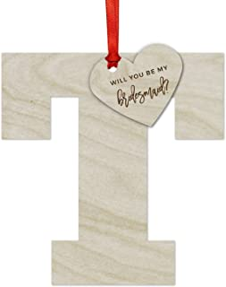 Andaz Press Personalized Laser Engraved Wood Christmas Ornament, Will You Be My Bridesmaid? Heart with Monogram, 1-Set, Includes Ribbon and Gift Bag, Custom Choose Your Monogram Letter