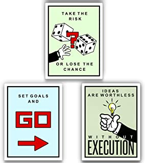 3 Piece Monopoly Execution Risk Goals Motivational Wall Art Canvas Print, Office Decor, Inspiring Framed Prints, Inspirational Quotes for Wall Art Decoration (3X - 24