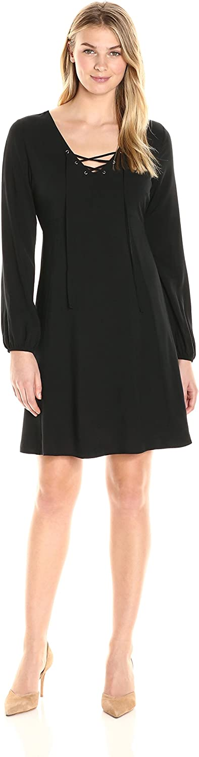 James & Erin Women's Laced Front Blouson Sleeve Flare Dress
