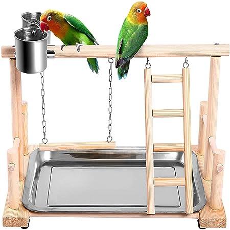 Pivby Parque De Juegos Para Pájaros De Madera Para Perca Loros Soporte De Gimnasio Escalera De Parque Con Comederos Tazas Juguetes Ejercicio Para Cacatúas Conures Periquitos Pinzón Mascotas